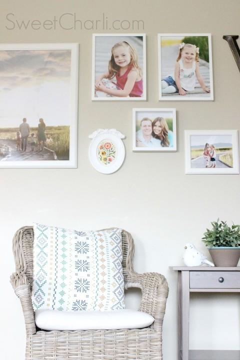 gallery wall using IKEA frames