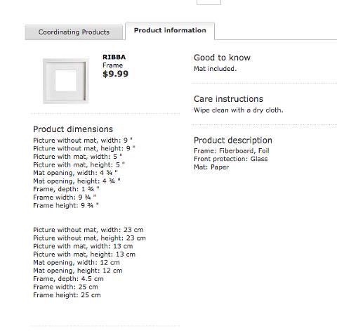 IKEA's Frame Measurements