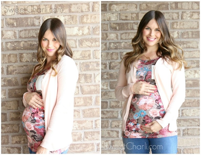 pink blush maternity floral tee