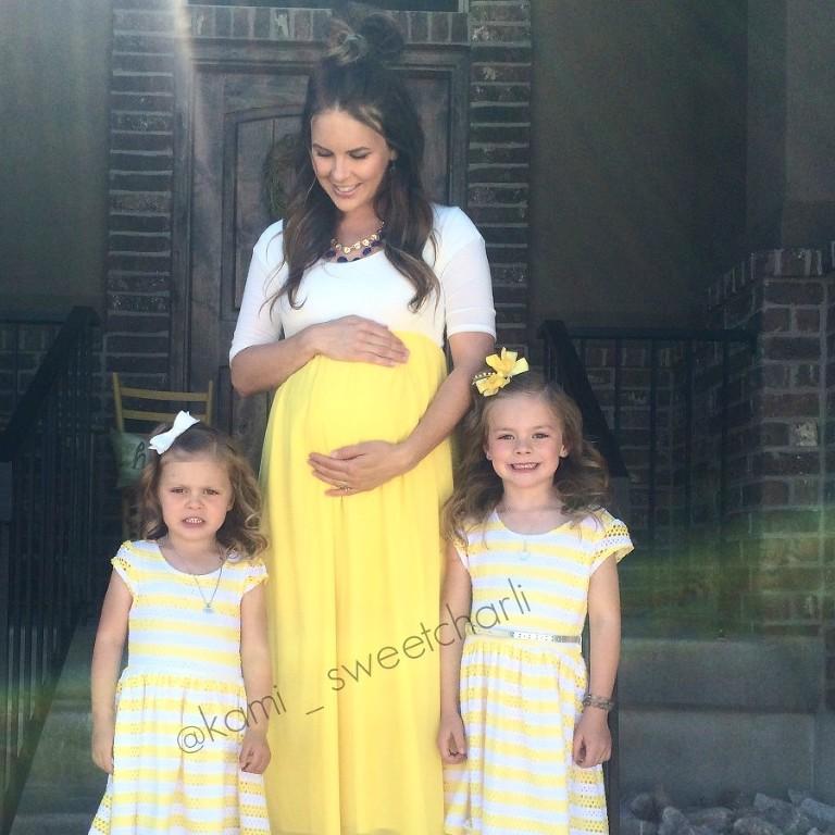yellow pink blush maternity dress