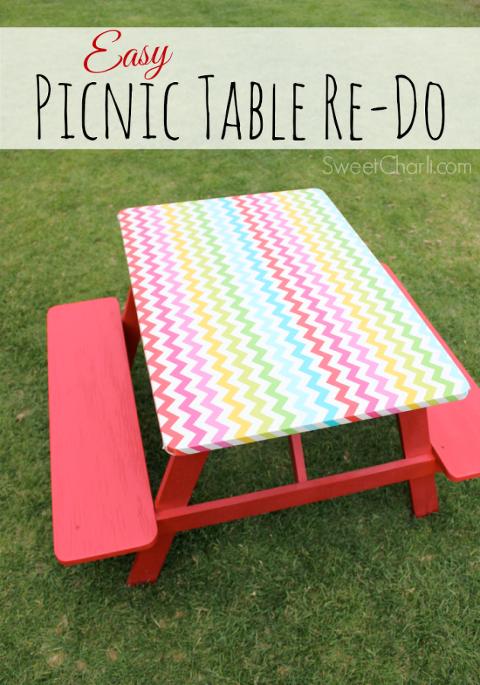 Easy way to refurbish wooden picnic table