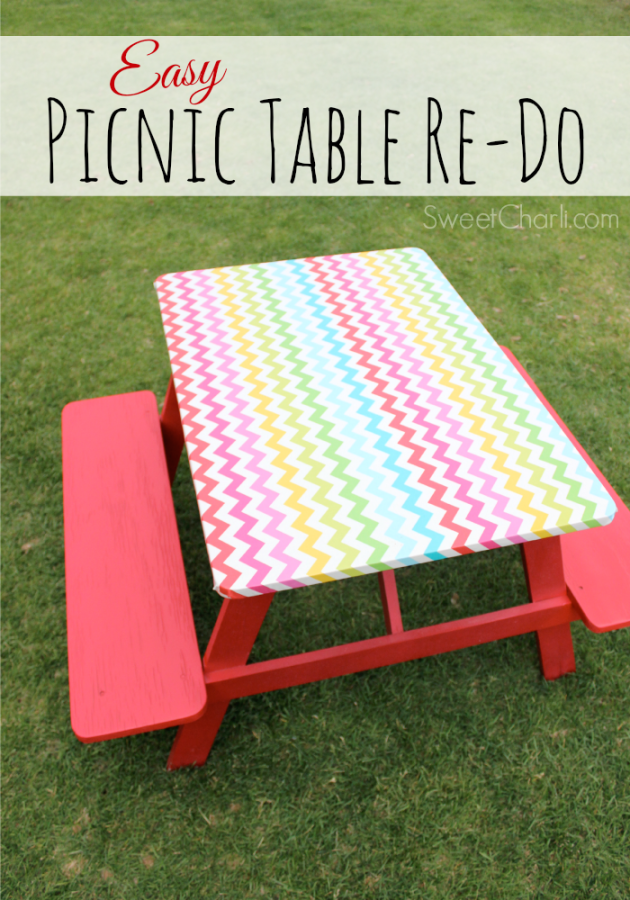 Easy way to refurbish wooden picnic table