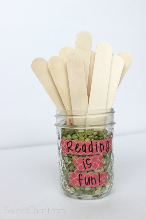 Reading sticks - keep those kids reading throughout the summer with an idea on each stick for every day.
