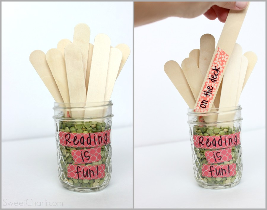 Summer reading sticks for kids. A new place to read listed on the stick for each new day. Great way to keep the kids motivated.