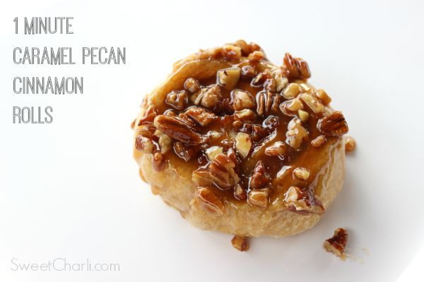 Caramel Pecan Cinnamon Rolls in One Minute!