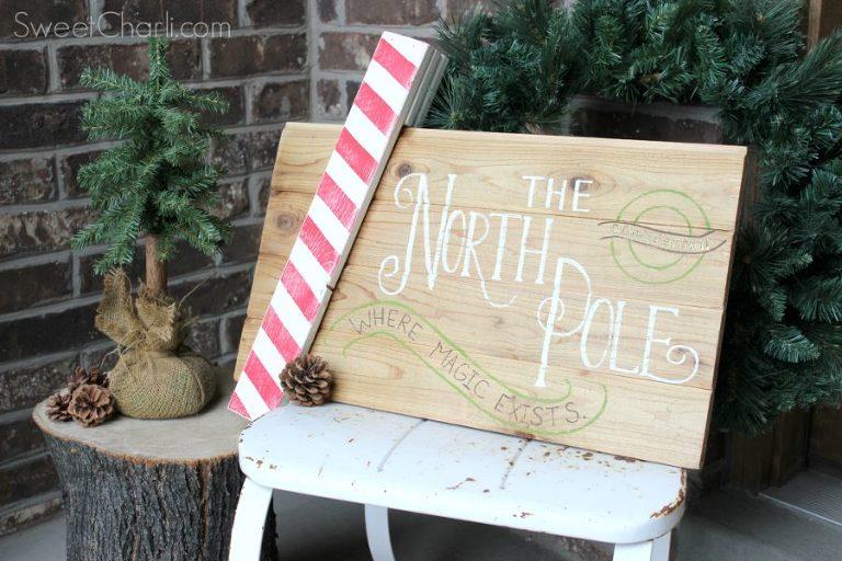 north pole pallet wood sign