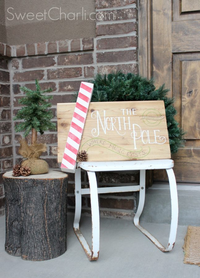 wooden pallet north pole reversible door hanger