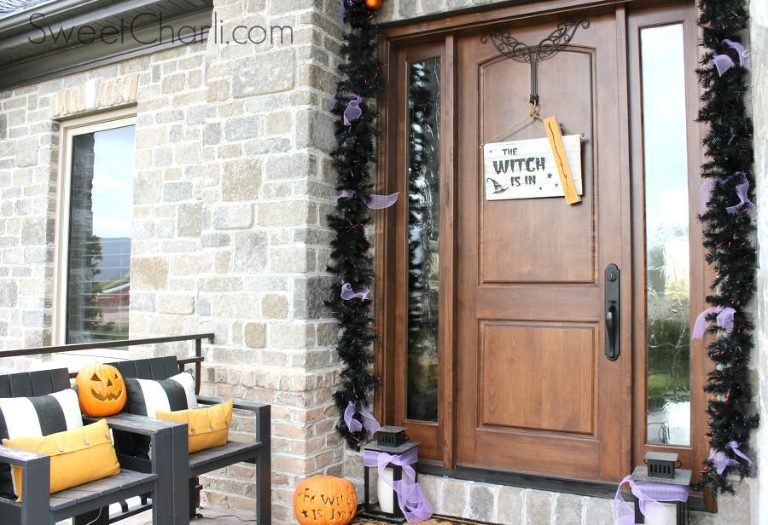 The witch is in wooden pallet halloween sign